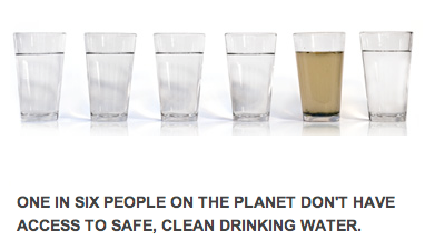 1 in 6 people do not have access to clean water